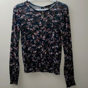 Dynamite Floral Mesh Summer Top - Size Small